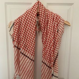 Red cream and black checkered blanket scarf